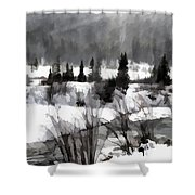 Winter Scene In Black And White Shower Curtain