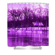 Winter Scene In Violet Shower Curtain