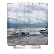 Winter Seascape 2 - Lyme Regis Shower Curtain