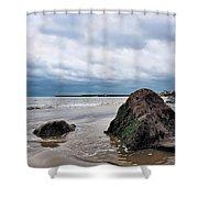 Winter Seascape - Lyme Regis Shower Curtain