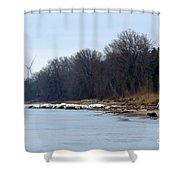 Winter Shoreline Walk  Shower Curtain