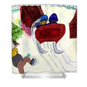 Winter Sleigh Ride Through The Tunnel Shower Curtain