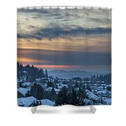Winter Snow At Sunset In Happy Valley Oregon  Shower Curtain