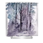Winter Snow Landscape Painting Print Shower Curtain