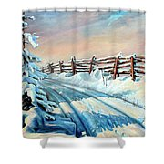 Winter Snow Tracks Shower Curtain