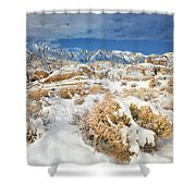 Winter Snowstorm Blankets The Alabama Hills California Shower Curtain