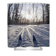 Winter Sport X-country Skis In Sunny Forest Tracks Shower Curtain