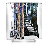 Winter Stairs In Blue Shower Curtain