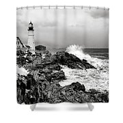 Winter Storm At Portland Head Shower Curtain