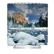 Winter Storm In Yosemite National Park Shower Curtain