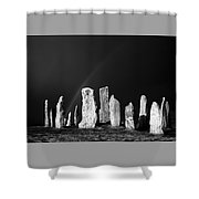 Winter Storm Sky Over Callanish. Outer Hebrides, Scotland.    Black And White Shower Curtain