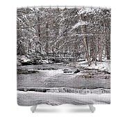 Winter Stream And Woods Shower Curtain
