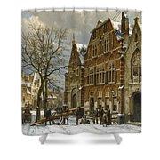 Winter Street Scene. Oudewater Shower Curtain