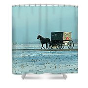 Winter Sun On Amish Buggy Shower Curtain