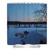 Winter Sunrise On Demond Pond Shower Curtain