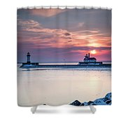 Winter Sunrise Over Canal Park Duluth Mn  Shower Curtain