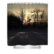 Winter Sunrise Shadows Shower Curtain