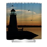 Winter Sunset At East Warf Shower Curtain