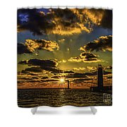 Winter Sunset At Muskegon Channel Light Shower Curtain