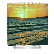 Winter Sunset At Wellfleet Harbor Shower Curtain
