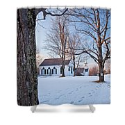 Winter Sunset In New Salem Shower Curtain by Susan Cole Kelly