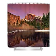 Winter Sunset Lights Up Half Dome Yosemite National Park Shower Curtain