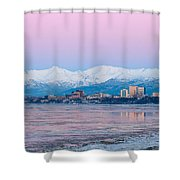 Winter Sunset Over Anchorage, Alaska Shower Curtain