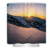 Winter Sunset Over Little Cottonwood Canyon Shower Curtain