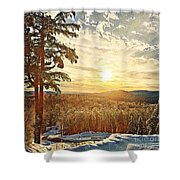 Winter Sunset Over The Mountains Shower Curtain