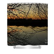 Winter Sunset Reflection Shower Curtain
