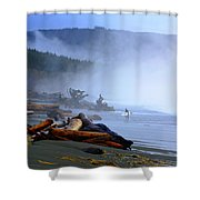 Winter Surf On Vancouver Island Shower Curtain