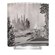 Winter Thermal Steam - Yellowstone Shower Curtain