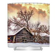 Winter Thoughts 2 - Paint Shower Curtain