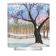 Winter Tree Landscape Shower Curtain