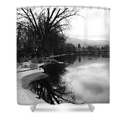 Winter Tree Reflection - Black And White Shower Curtain