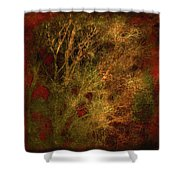 Winter Trees In Gold And Red Shower Curtain