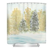 Winter Trees Shower Curtain by Ken Powers