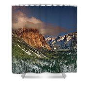Winter Tunnel View Yosemite National Park  Shower Curtain