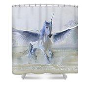 Winter Unicorn Shower Curtain