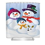 Winter Vacation With Mum Dad And Snowy Shower Curtain