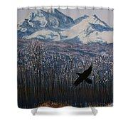 Winter Valley Raven Shower Curtain