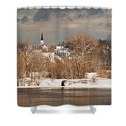 Winter View Of Allenstown Shower Curtain