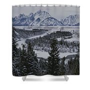 Winter View Of The Snake River, Grand Shower Curtain