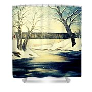 Winter Walk At Bennett's Mill Bridge Shower Curtain