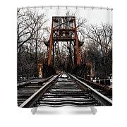 Winter Walk - Orange Shower Curtain