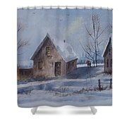 Winter Walk, Watercolor Painting Shower Curtain