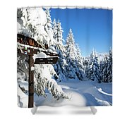 winter way in the Upper Harz Shower Curtain