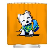 Winter Westie With Lime Shower Curtain