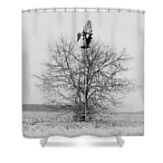 Winter Windmill Shower Curtain