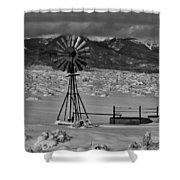 Winter Windmill Shower Curtain